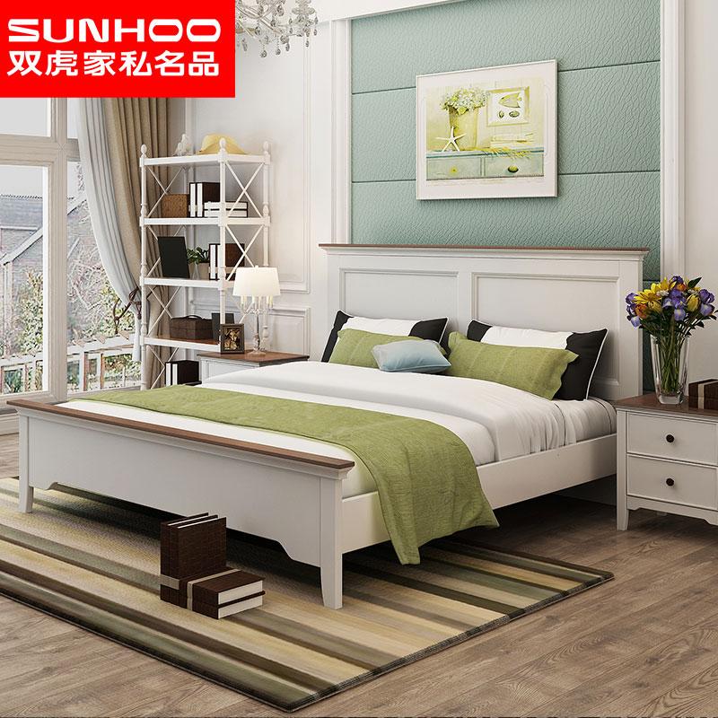 双虎家私美式主卧大床1.5米床双人床1.8米卧室田园白色床16M201