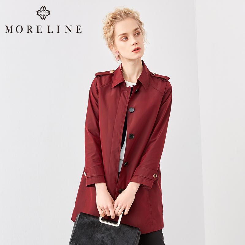 MORELINE沐兰2018春新款经典休闲百搭酒红色中长款风衣18191001