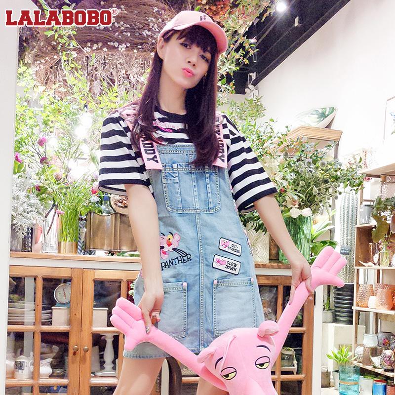 LALABOBO 2018年夏季新款粉红豹可爱牛仔背带裙|F02B-WXNB12