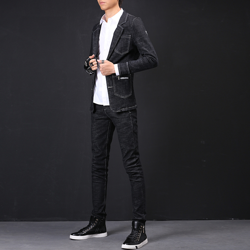 日系西装牛仔外套男潮流修身款弹力两件套夹克男青年学生牛仔套装