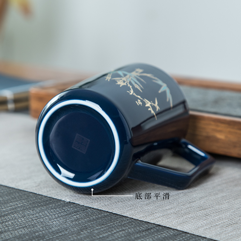 The blue cup of jingdezhen ceramic tea set with handles a single office manual filtering office glass tea cup