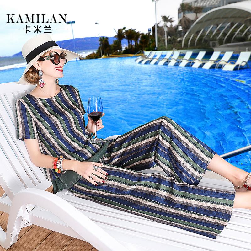 卡米兰2018夏季新款短袖欧美时尚印花上衣+高腰印花阔腿裤套装女