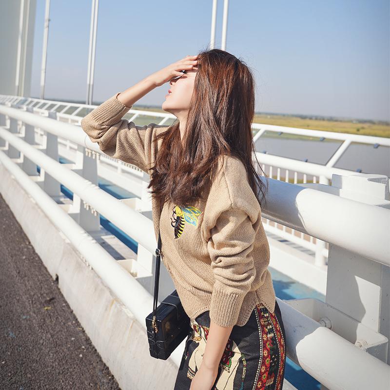 毛衣女2018秋装新款韩版刺绣宽松套头针织衫打底毛衣外套短款女