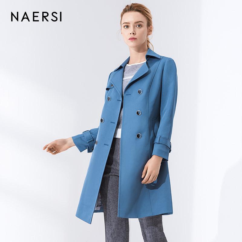NAERSI女装风衣外套2018秋季新款蓝色宽松翻领束腰系带中长外套