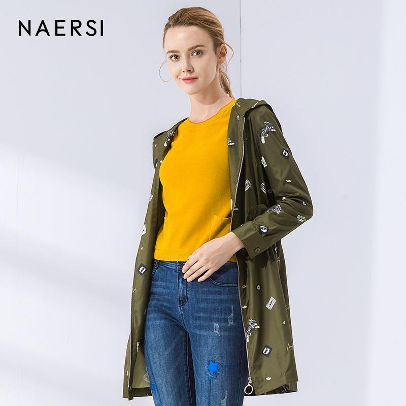 娜尔思女装趣味印花风衣2018秋季新款宽松绿色中长款休闲薄款外套