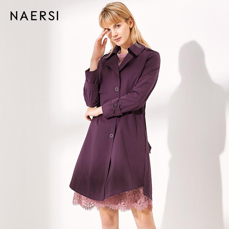 娜尔思女装红色风衣女2018秋季新款宽松大码收腰系带中长款外套