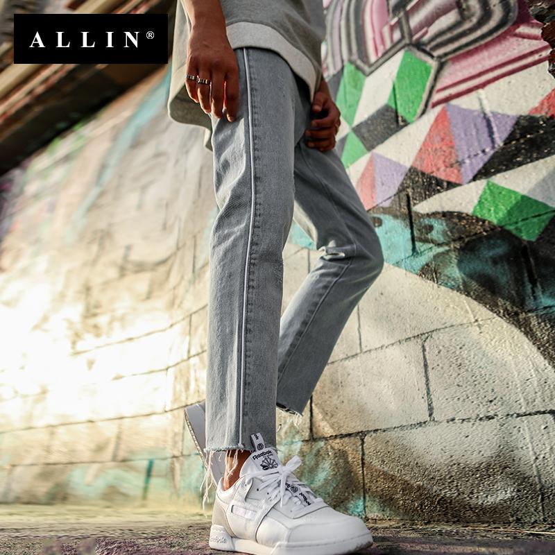 Allin2018春夏新款韩版男士休闲直筒水洗潮男九分裤个性牛仔裤