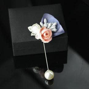 芙蓉绣珍珠玫瑰胸针