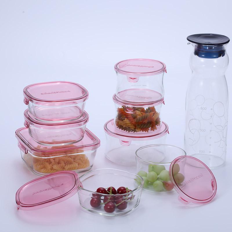 怡万家耐热玻璃保鲜盒套装微波炉带盖加热饭盒冰箱收纳保鲜盒碗