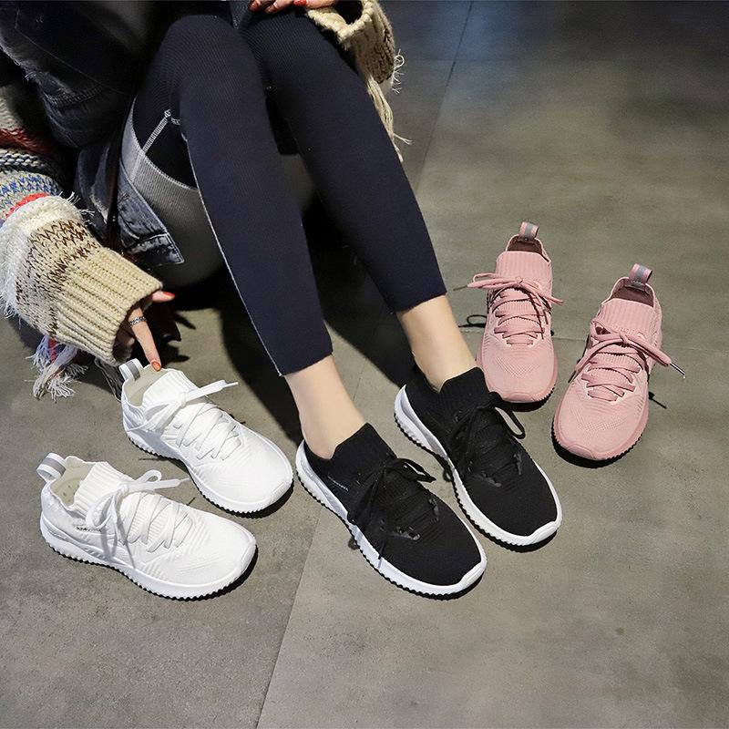 袜子鞋女2019春夏新款透气飞织运动鞋女学生老爹鞋韩版百搭女鞋