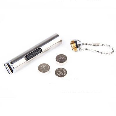 二合一迷你验钞灯笔 小型便携式照明手电筒 不锈钢紫光荧光剂检测