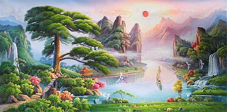 00元】手绘山水风景油画左右逢源聚宝盆迎客松