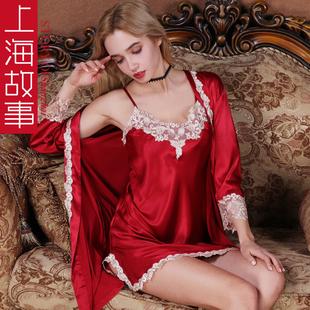 上海故事真丝绸冰丝睡衣女春秋夏季薄款性感吊带睡裙睡袍两件套装