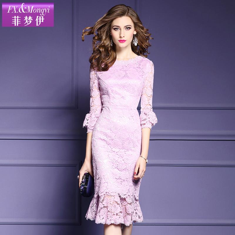 菲梦伊春装新款2018V领修身七分袖蕾丝连衣裙女中长款一步裙14838