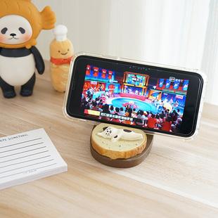 可爱泡芙吐司面包猫咪创意手机支架 日系桌面树脂摆件情侣手机座