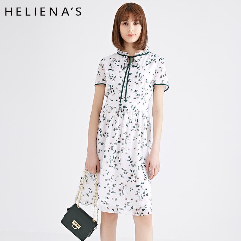 海兰丝碎花连衣裙2018新款女装夏季短袖修身荷叶领小清新雪纺裙子