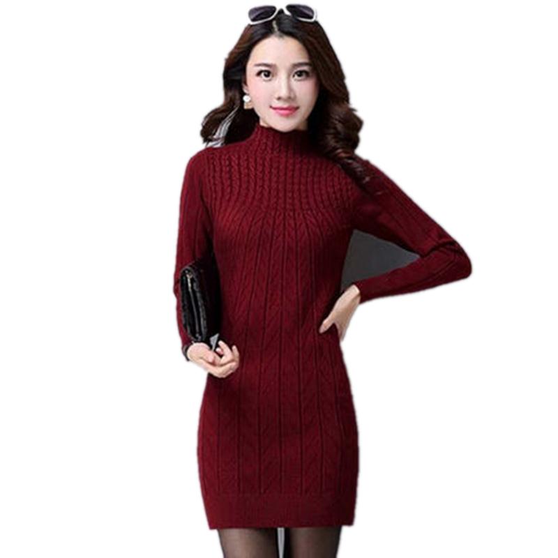 加绒加厚中长款毛衣女秋冬韩版修身显瘦羊毛针织衫打底连衣裙春季