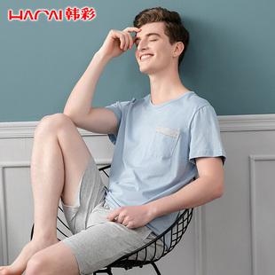 夏季纯棉短袖可外穿睡衣男士春夏薄款男式夏天大码休闲家居服套装