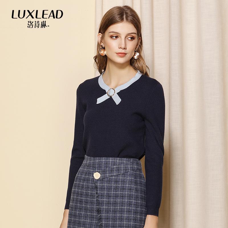 洛诗琳2018冬季新款时尚撞色套头长袖针织衫女简约修身显瘦打底衫