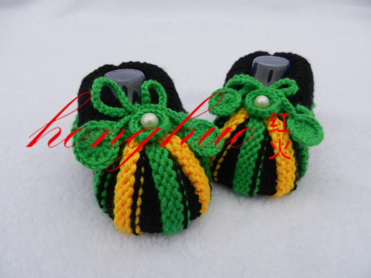 红火手工坊特价纯手工编织毛线鞋可爱南瓜头花朵婴儿鞋单鞋宝宝鞋
