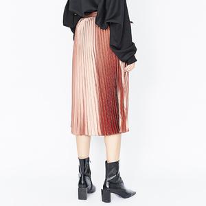 DAZZLE地素 18冬装乐动娱乐官网欢迎您纯色典雅百褶可拆卸腰带半身长裙女2F4S401
