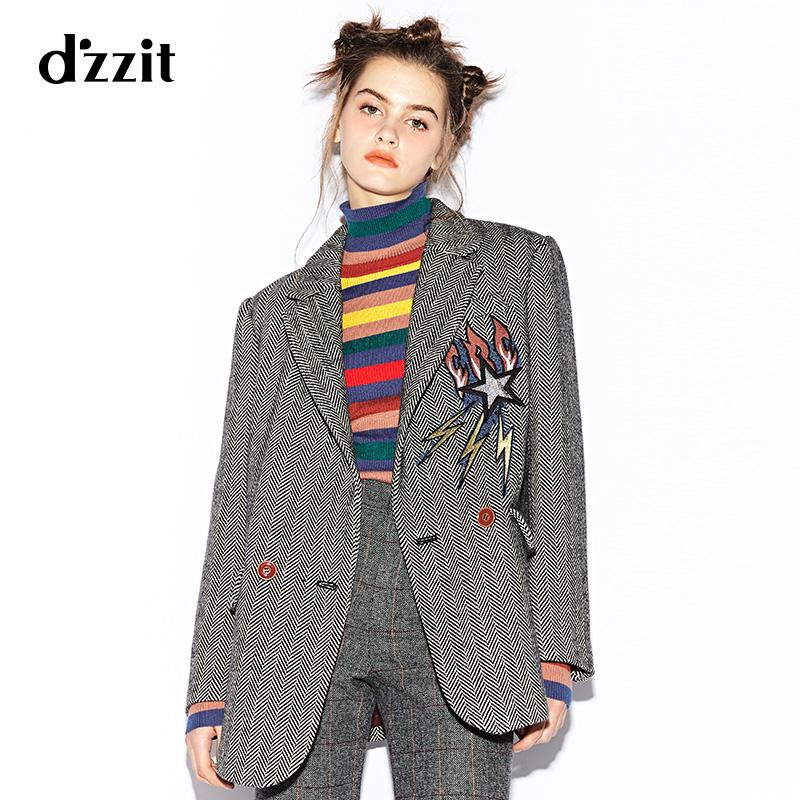 d'zzit地素 新款 刺绣人字纹中长西装毛呢大衣 3A4G2082F