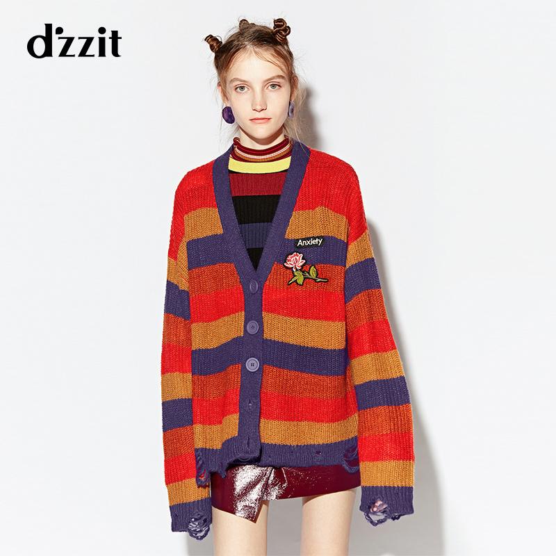 d'zzit地素 18秋专柜新款 贴布条纹破洞开衫毛织女宽松 3F3E5062M
