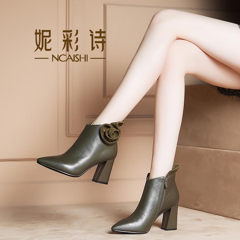 真皮单靴子女时尚欧洲站粗跟短靴春秋女2018新款百搭尖头高跟皮靴