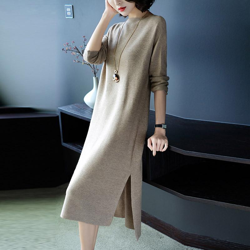 菲西娅2017秋冬新款长袖宽松显瘦开叉针织连衣裙中长款打底毛衣裙