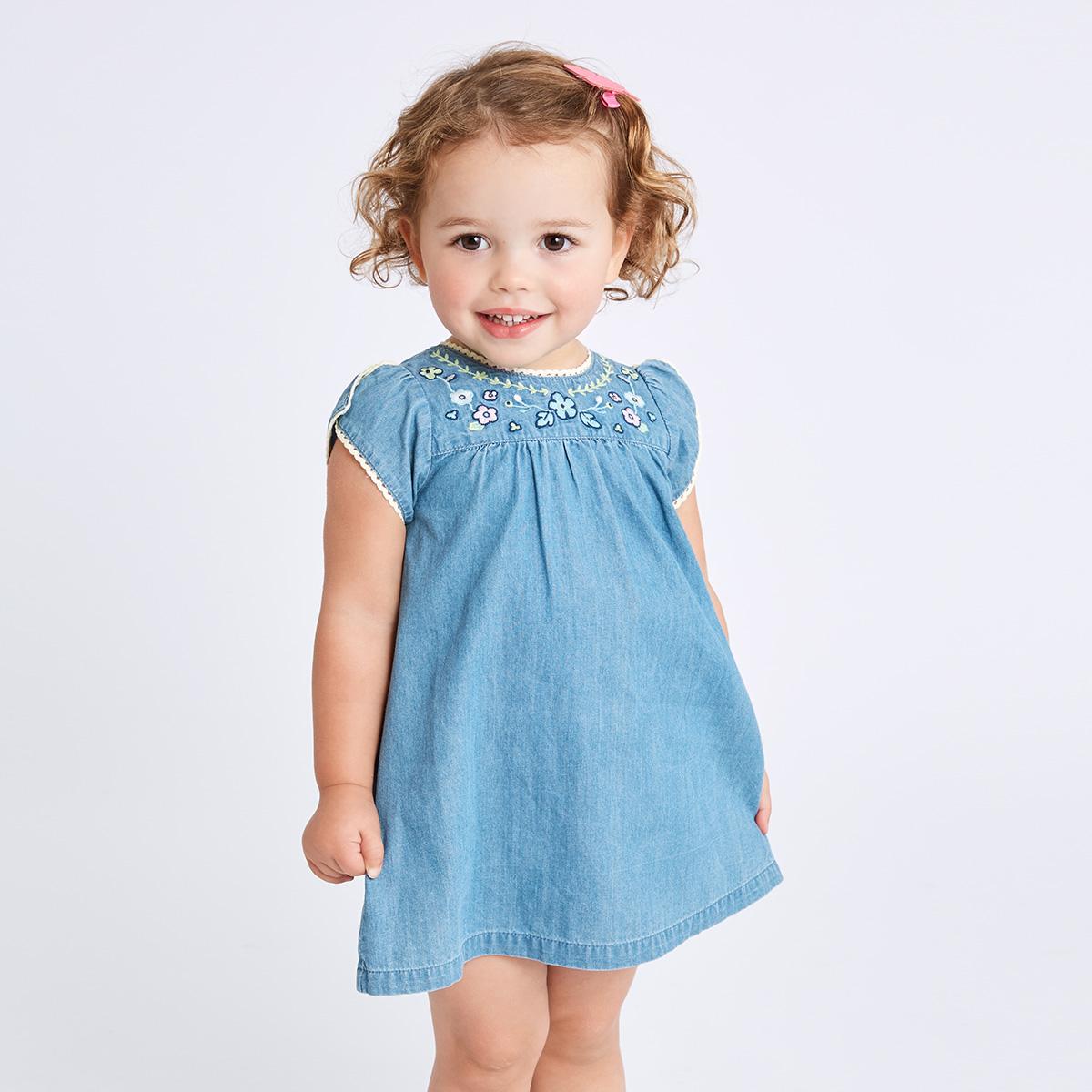 davebella戴维贝拉夏装新款女童牛仔连衣裙宝宝背心公主裙DB7032