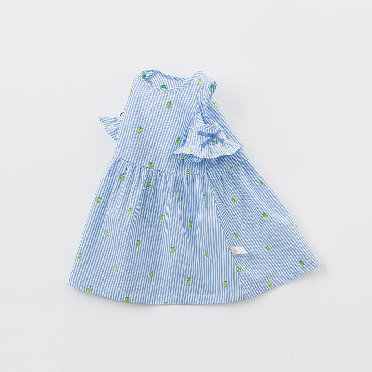 davebella戴维贝拉2018夏季新款连衣裙宝宝条纹露肩连衣裙DBM7431