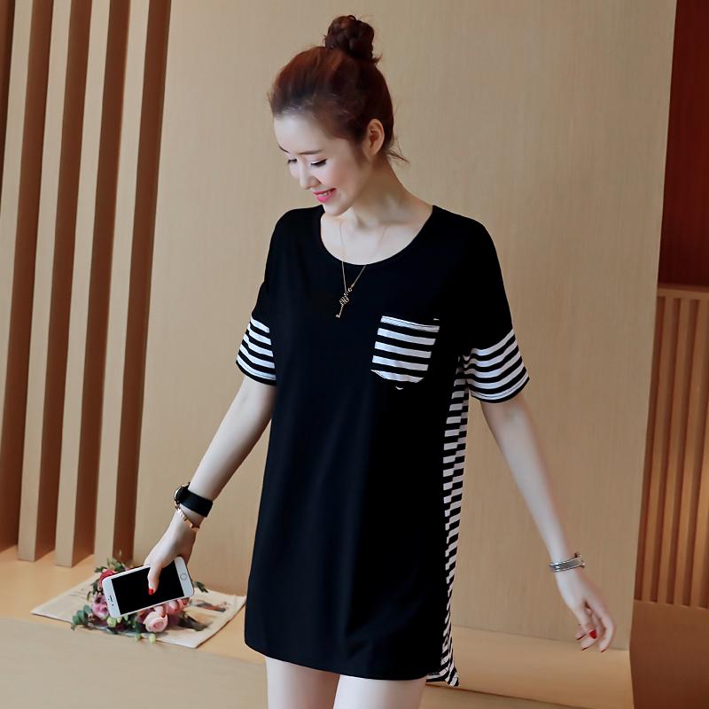 夏季新款女装宽松休闲韩版T恤裙中长款大码百搭连衣裙短袖