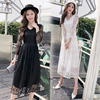 Real Shot 2018 Autumn New Mesh Lace Embroidery V-Neck Long-Sleeved Floral Long Dress