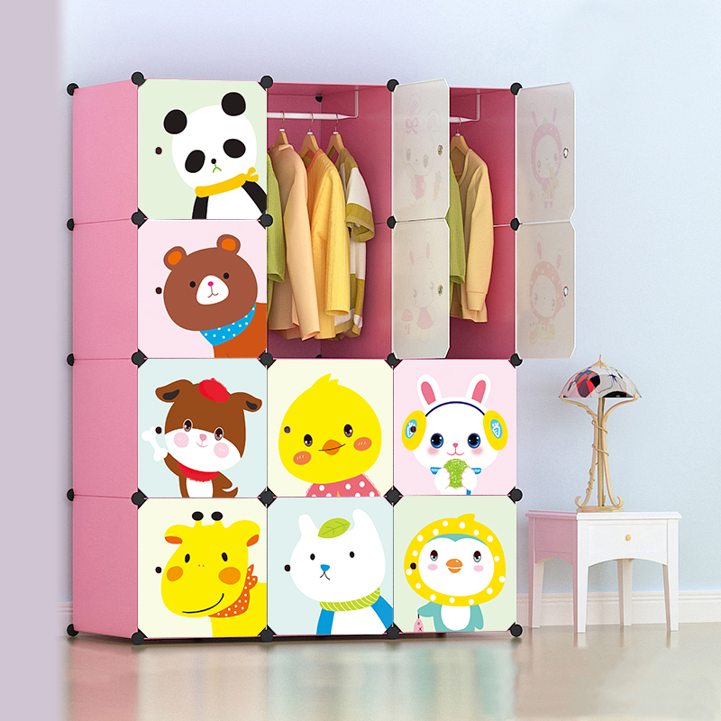 Cartoon Simple Wardrobe Children's Baby Baby Storage Cabinet Combination Plastic Wardrobe Resin Assembly Simple Wardrobe