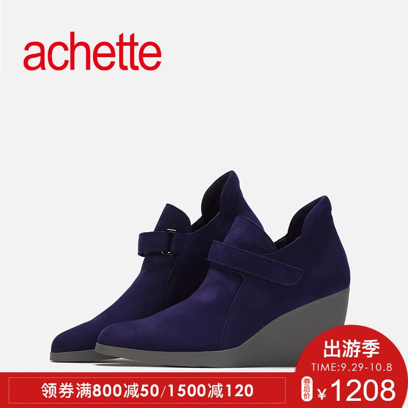 achette雅氏5JW1 秋冬款圆头魔术贴短靴踝靴高跟女鞋