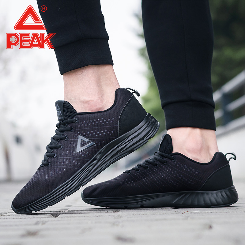 Peak running shoes men's shoes 2018 spring and summer new mesh breathable  men's black sports shoes