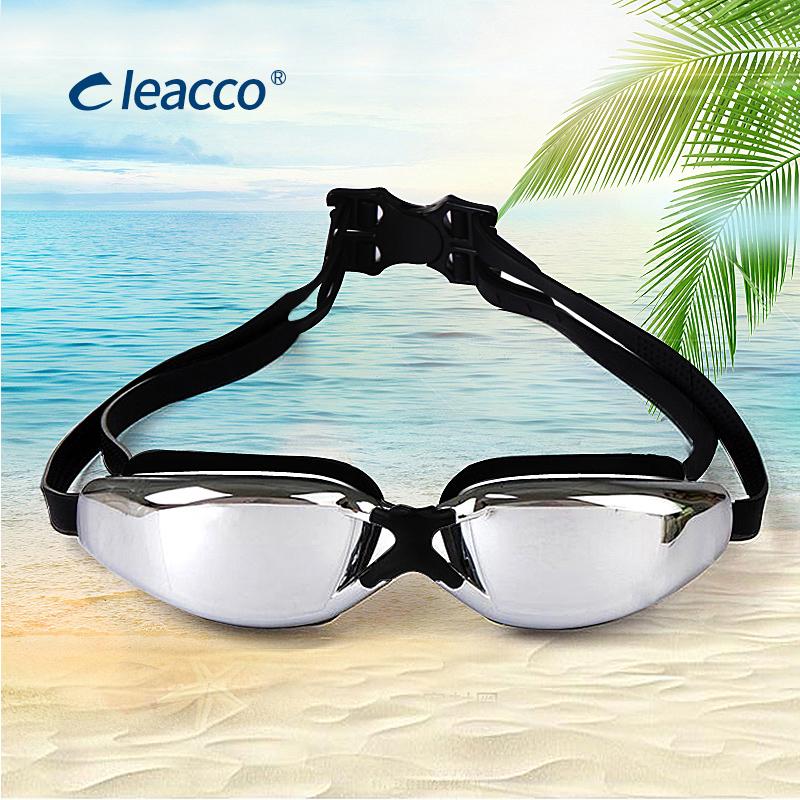 泳镜大框时尚电镀平光-近视泳镜 男-女有镜盒防水防雾游泳眼镜