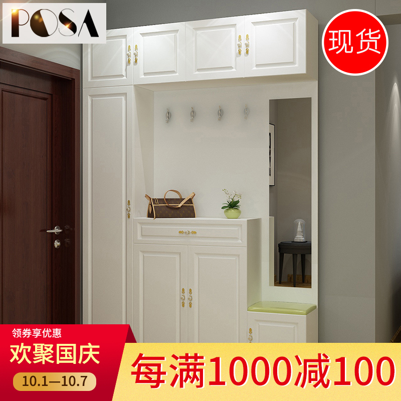 白色定制门厅柜鞋柜简约现代玄关柜入门防尘隔断柜多功能收纳柜