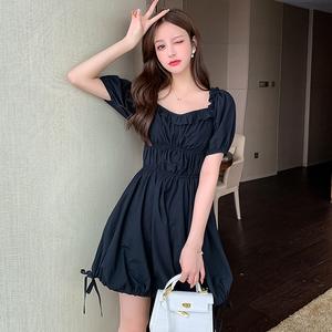 实拍972#韩版黑色法式优雅抽绳系带方领泡泡袖连衣裙2020...