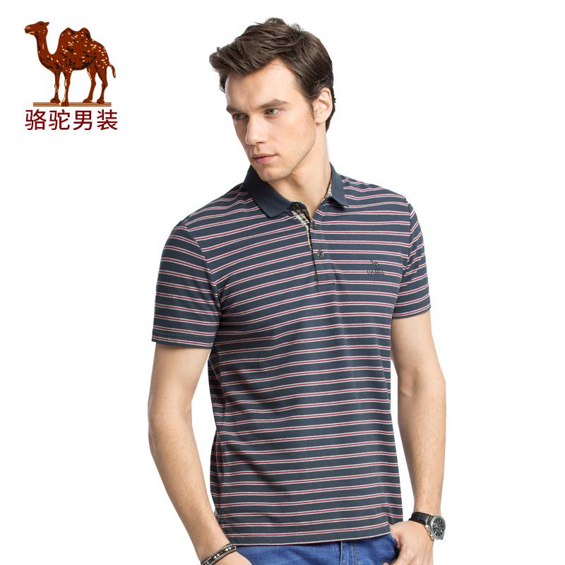骆驼男装 夏季新款微弹条纹翻领POLO衫休闲男青年短袖T恤