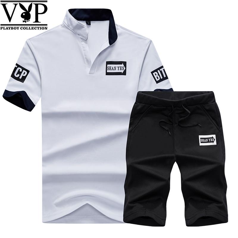 花花公子贵宾夏季新款运动套装男短袖大码T恤男宽松五分裤两件套