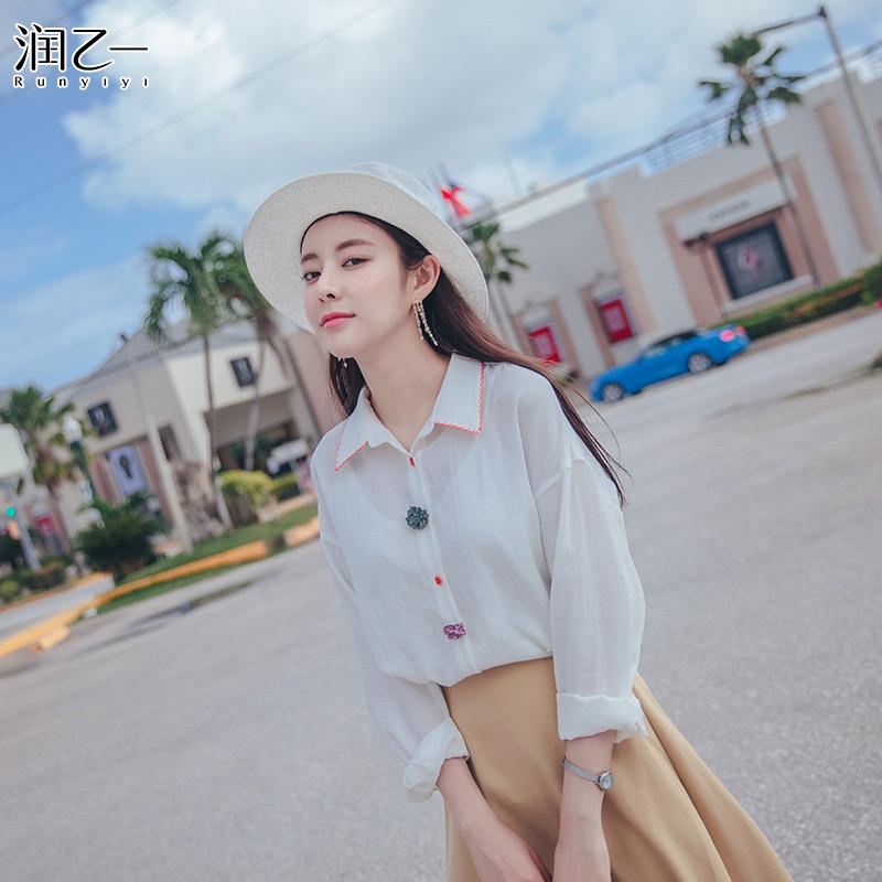 润乙一甜美上衣小清新白衬衫女长袖2018夏季新款宽松韩版学生短袖