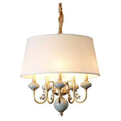 美式餐厅吊灯 现代简美饭厅灯别墅轻奢吧台吊灯复古全铜陶瓷灯具