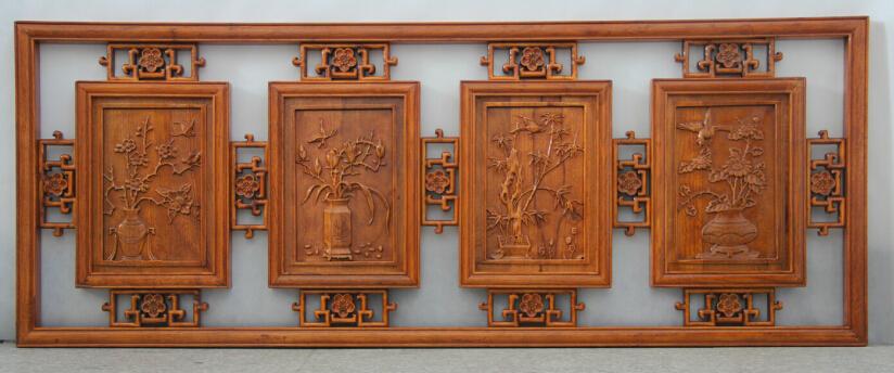 木雕 仿古家居长方形镂空挂件 梅兰竹菊香樟木壁饰横屏挂屏