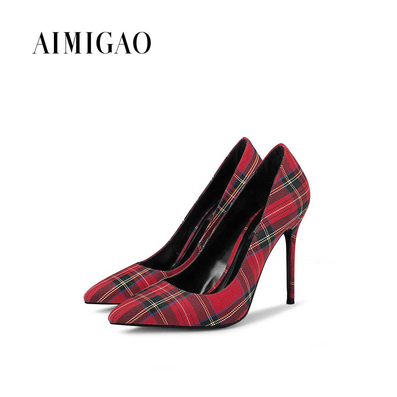 AIMIGAO爱米高2018春夏时尚格子布尖头高跟鞋女细跟单鞋子