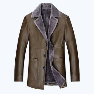 冬季皮衣男加绒加厚皮夹克休闲男士外套中年PU皮毛一体爸爸装皮衣