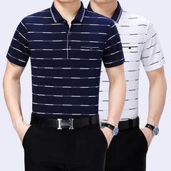 2018新款短袖T恤男士夏季男裝翻領T恤雙絲光棉爸爸裝