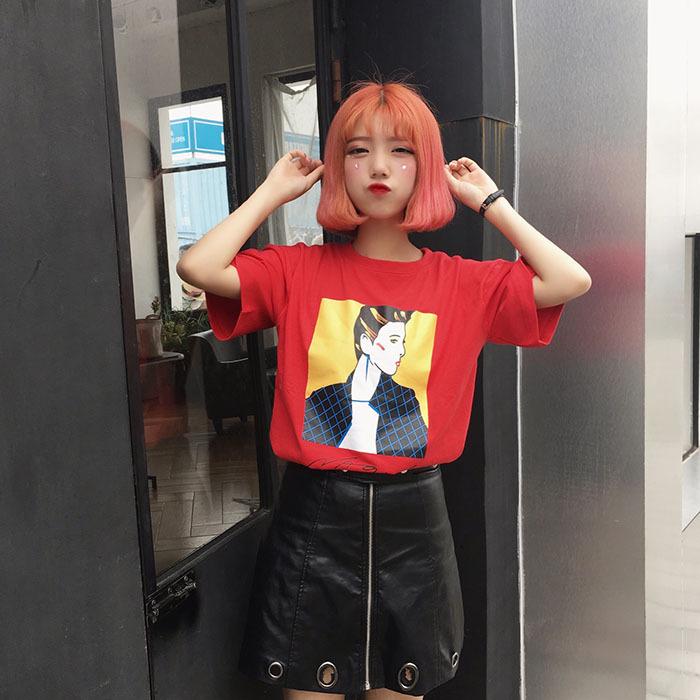3017夏季原宿BF韩版宽松短袖大码上衣百搭半袖T恤女