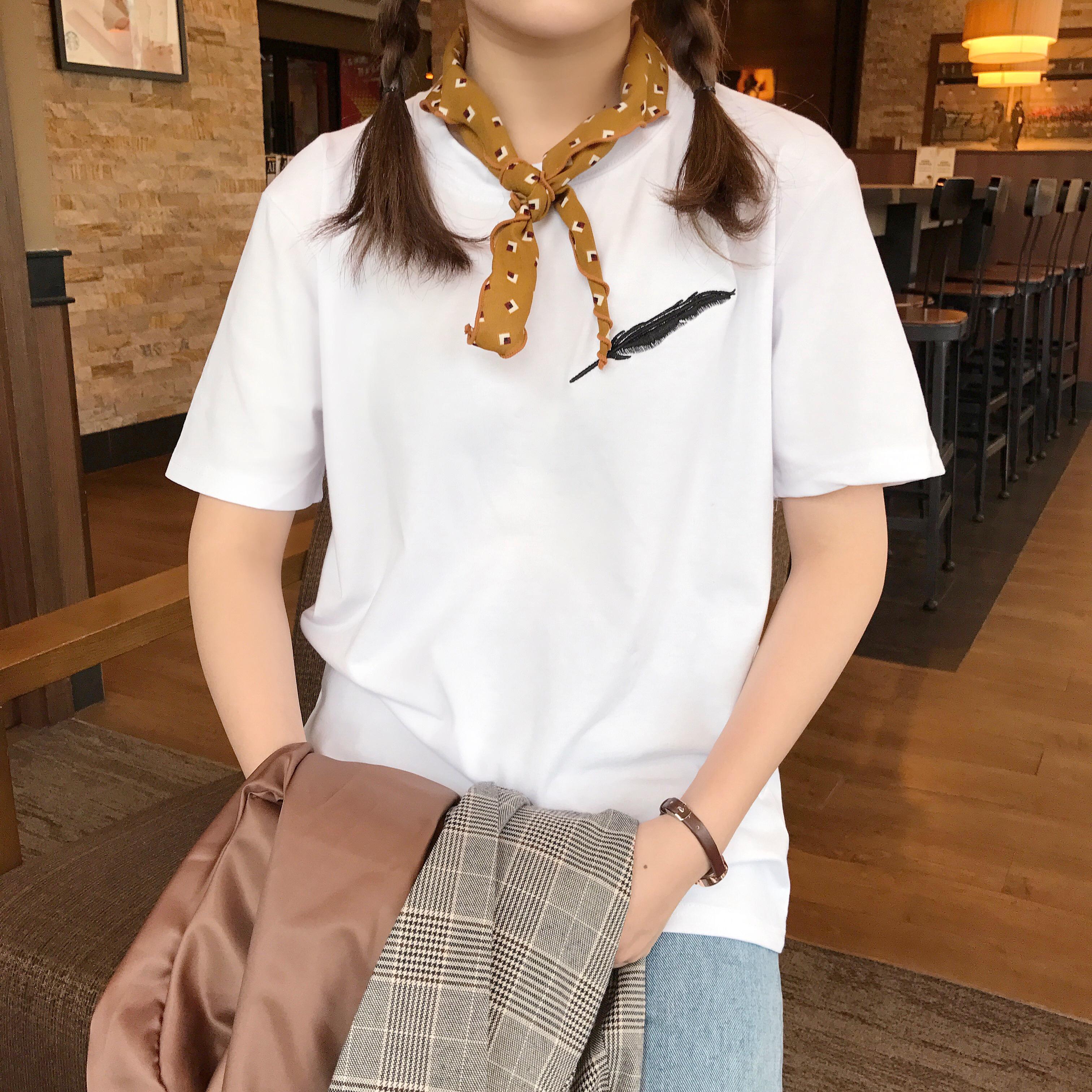 韩版春夏女装小清新羽毛刺绣简约短袖T恤上衣学生