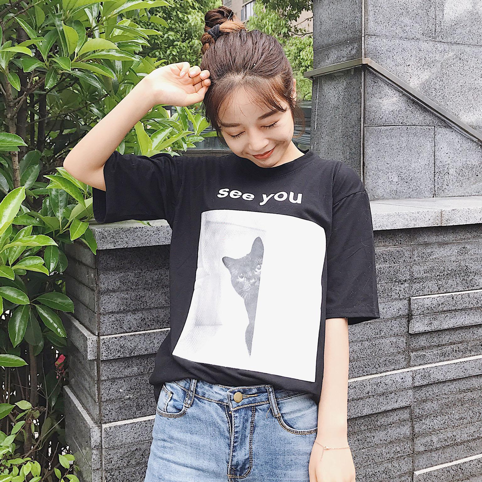 实拍韩版夏女装可爱猫咪卡通短袖T恤宽松学生上衣